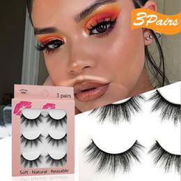 Wholesale Individual Eyelashes New 3D fake mink hair false eyelashes 3 pairs of natural and dense eyelash curl on Sale