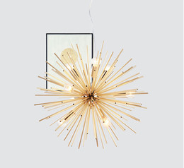 Chinese  Post-modern Gold Pendant Lights Living Room Restaurant Study led radiation sphere art Personality design pendant lamp manufacturers