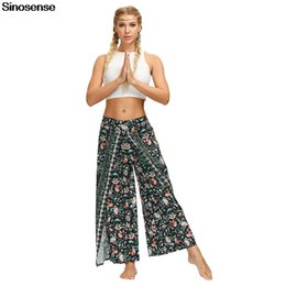 printed sport trousers NZ - Women Floral Print Palazzo Lounge Pants Elastic Waist Trousers Summer Autumn Fitness Sports Pants Casual Loose High Waist Pants