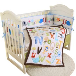 babies bedding sets NZ - Baby Cot Bedding Set Soft Breathable Cotton Bed For Children Including Quilt Sheet Skirt Bumper