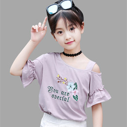 Discount kids off white t shirts - Girls Summer Shirts Off Shoulder Floral T-shirt Kids Casual T-Shirts For Teens Teenage Children's T-Shirts Gils 6 8