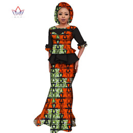 batik dress plus size Canada - 2019 Summer African Dashiki for women o-neck Skirt Set natural Bazin riche african fashion clothing cotton Plus Size BRW WY2394