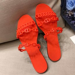 eva slippers flip flops Australia - The New Designer shoes ladies jelly chain sandals famous beach swimming pool leisure slippers 2019 new H packaging flat bottom flip flops