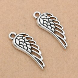 tibetan coins UK - angel wing charms pendants Tibetan Silver Plated Angel Wings Charms Pendant Bracelets Necklace Jewelry Making Accessories DIY 32x12mm