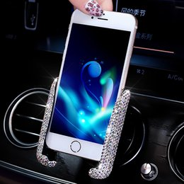 $enCountryForm.capitalKeyWord NZ - Luxury Universal Car Phone Holder In Car Air Vent Mounts Smart Phone Cellphone Support Bling Accessories For Girls Women