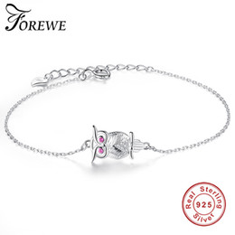 $enCountryForm.capitalKeyWord UK - FOREWE 925 Sterling Silver Owl Bracelet & Bangle Adjustable Pulseras Mujer Pink Crystal Charm Bracelet For Women Wedding Jewelry