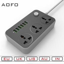 Power Socket Eu Australia - Power Strip with 3 socket and 6 USB Ports Universal EU AU US UK IN Plug Socket Surge Protector Charging Station 6.5ftPower Cord
