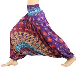 Wholesale yoga belly dancing pants for sale - Group buy Fashion Pants Women Digital Printed Polyester Wide Loose Bloomers Belly Dance Trousers Yoga Pants Black And White Yoga