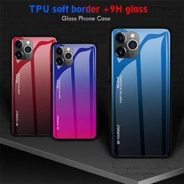 11 iphone colors Canada - Gradient Colors Case For iphone 11 11pro 11pro max 8 plus TPU+Glass Hard Phone Case For Sumsang Galaxy Note10pro,S10Plus