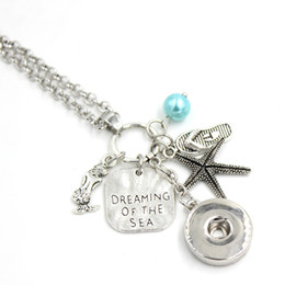 $enCountryForm.capitalKeyWord Australia - Wholesale Snap Necklace 18mm Snap Jewelry Dreaming of the sea Necklace Beach Jewelry Ocean Summer Necklace Flip Flop Starfish Charm