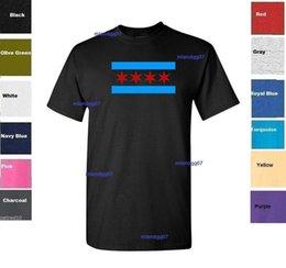 Cheap Cotton Flags Australia - Chicago Flag T-Shirt Shirt SIZES S-5XL Mens 2018 fashionable Brand 100%cotton Printed Round Neck T-shirts cheap wholesale