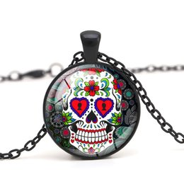 Skeleton Gifts Australia - Sugar Skull Glass Cabochon Dome Skeleton Pendant Necklace Women Jewelry Halloween Gift for Men Accessory-P