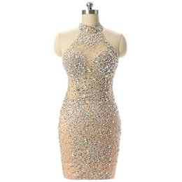 Champagne Luxury Prom Dress UK - Luxury Champagne Short Prom Dresses Mermaid 2019 Beading Crystal Imported Party Dress Vestido Formatura Evening Gowns Special Occasion Dress