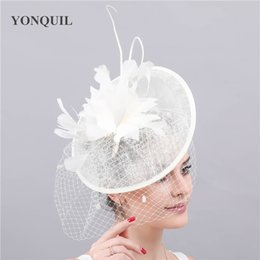 212bec66df344 Ladies church derby sinamay chapeau ivory feathers fascinators hat women  female wedding party occasion headwear hair accessory free ship