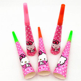 Party Noises Australia - 6pcs lot Hello Kitty Horn Trumpet Party Supplies Decoration Noise Maker whistle Baby Shower Favor Troll Horn Birthday Supplies