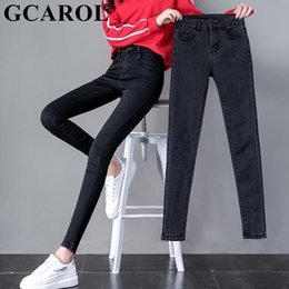 32 Plus Size Women Jeans NZ - Gcarol New Collection Women Pencil Denim Pants High Waisted High Street Slim Basic Jeans In 3 Colors Plus Size 25-32 J190626