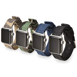 Canvas band strap online shopping - Casual Canvas Strap for Apple Watch Band Camouflage Pattern Nylon Replacement Watchband for iWatch Belt Black