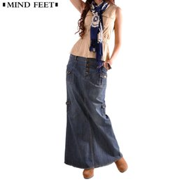 515a9cf1b Women denim long skirt online shopping - Mind Feet Women Denim Skirts Plus  Size Summer Ladies