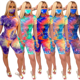 Discount summer hiking mask Plus size 2X Summer Women plain tie dye two piece set short sleeve Tshirt shorts+masks casual trendy outfits designer pr