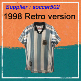 Wholesale 1998 Retro version Argentina Home Soccer Shirt Argentina BATISTUTA Short Sleeve Football Jersey National Team Customize Uniforms