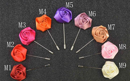 $enCountryForm.capitalKeyWord Australia - New fashion men brooch flower lapel pin suit boutonniere fabric yarn pin 18 colors button Solid ribbon flower brooches Wedding party gifts