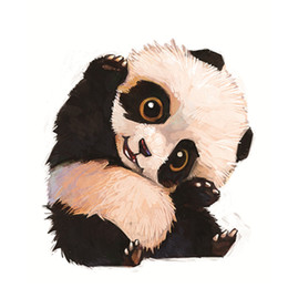Wood Crafts For Kids UK - 5d Diy Diamond Painting Cross Stitch Lovely Panda Round Diamond Diamond Embroidery Crafts Animal Picture For Kids Gift