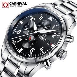 $enCountryForm.capitalKeyWord Australia - Carnival Watch Men Automatic Mechanical Luminous All Black Stainless Steel Waterproof multifunction Watches