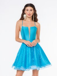 $enCountryForm.capitalKeyWord UK - Eye-catching 2019 A-Line Blue Rhinestones Homecoming Dresses With Spaghetti Straps Criss Cross Back Crystal Beaded Short Prom Dress