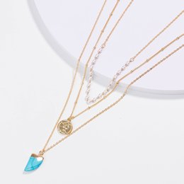 $enCountryForm.capitalKeyWord Australia - Retro Multi-layer Necklace Happiness Crescent Necklace Female Green Stone Imitation Turquoise Pendant Necklace Blue Gemstone Stone Jewelry