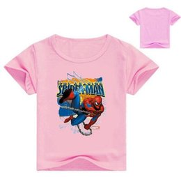 Chinese  New Children Spiderman Print T-shirt Clothes For Boy Girls Summer Short Sleeve Solid Tee Tops Costume Kid T Shirt Clothing manufacturers