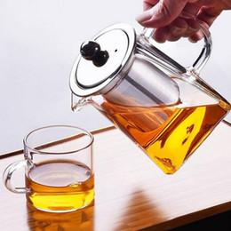 venda por atacado Limpar borossilicato bule de vidro com filtro infusor de aço inoxidável transparente elegante chá de vidro copo bule de chá de chá