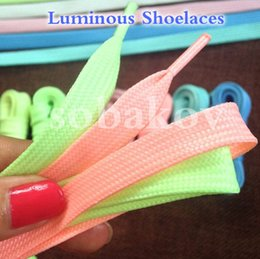 Wholesales Shoelace Charms Australia - Bright Color Luminous Sneakers Shoelaces Glow in the dark Fluorescent Luminous Shoe Laces Bootlaces Strings Reflective Safety Laces SK450