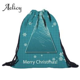 Fitness Christmas Gifts Australia - Aelicy Christmas Drawstring Backpack 3D Digital Print Women Shoulder Pocket Men Travel Fitness Sports Bag Children Gift Bag