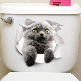 $enCountryForm.capitalKeyWord NZ - Cartoon Animal 3d Toilet Stickers on The Toilet Seat Cute Cats PVC Wall Sticker Bathroom Refrigerator Door Decor Stickers Decals