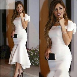 $enCountryForm.capitalKeyWord Canada - White Mermaid Prom Dresses With Bow Zipper Up Tea-length Short Evening Party Dresses Gown Vestido De Fiesta