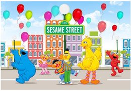 outdoor photo background Australia - 7x5FT Outdoor Sesame Street Balloons City Skyline Elmo World Custom Photo Background Studio Backdrop Vinyl 220cm x 150cm
