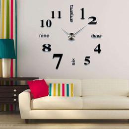 Vente en gros 2019 design moderne précipité horloges à quartz de mode montres acrylique miroir autocollant bricolage salon décor 3D grande horloge murale