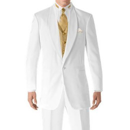 $enCountryForm.capitalKeyWord NZ - White and Gold Wedding Tuxedos for Groom Men Suits Shawl Lapel 3 Piece Custom Made Jacket Pants Waistcoat Latest Style WH078