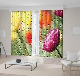 Discount colorful views - Colorful Tulips Flowers Garden View from Window Glass Covered by Water Drops Photo Printed Yellow Red Purple Curtain