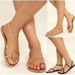 db40b089be46 Women Sandals Female Summer Low Heels Flip Flops Weaving Casual Beach Flat  Shoes Rome Style Gladiator Sandal Sandalia Feminina
