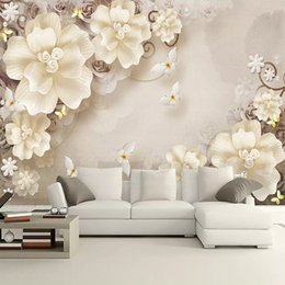 $enCountryForm.capitalKeyWord Australia - 3D Embossed Butterfly Crystal Diamonds Photo Wallpaper Mural Flower Jewelry Pearls Sofa TV Background Wall Decor papier peint 3d Custom Size