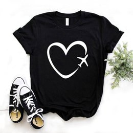 plane t shirts UK - Travel plane heart love Print Women tshirt Cotton Casual Funny t shirt Gift Lady Yong Girl Top Tee 6 Color A-1121