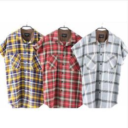 Blue flannel shirt men online shopping - 2019SS TOP justin bieber tartan clothing fog fear of god flannel plaid Men Short sleeve shirt Hip Hop oversized shirts S XL
