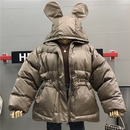 zipper high waist Australia - Mooirue 2019 Winter Cute Ears Warm Parkas Women High Waist Casual Streetwear Solid Jackets Loose Cotton-padded Harajuku Coats