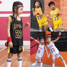 Training Shirts Basketball NZ - College Basketball Wear Kid LSPORT 23 Basketball shirt Set,Girls Basketball jersey uniform,Sport shirts shorts,BasketBall Team train Clothes