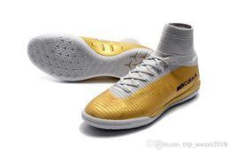 Cr7 Ronaldo Boots Australia - White Gold CR7 Soccer Cleats Cristiano Ronaldo Turf Football Boots 100% Original Mercurial Superfly V TF IC Men Indoor Soccer Shoes