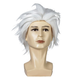 wig short white Australia - short Wavy Cosplay man Wig white 32 Cm Synthetic Hair Wigs