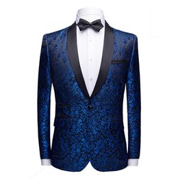 Chinese  Royal Blue One Button Floral Jacquard Dress Blazer Men Shwal Lapel Slim Fit Party Wedding Prom Suit Jacket Male Costume Homme manufacturers