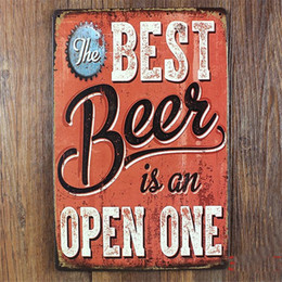 $enCountryForm.capitalKeyWord Australia - Wholesale- best beer in on open one home decor vintage metal Tin signs decorative plaques for bar wall art craft 20X30CM SP--XZ-YW-001