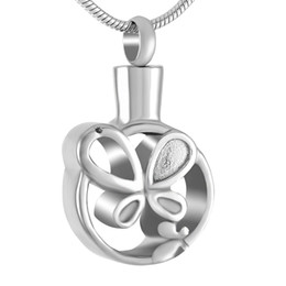 Hollow angel pendants online shopping - IJD9241 Stainless Steel Cremation Silver Pendant Necklace for Ashes Urn Hollow Butterfly Round Shape Memorial for Men Women Jewelry